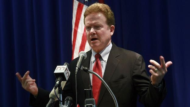 U.S. Democratic Sen. Jim Webb gestures while talking to journalists during a press conference at the U.S. Embassy.