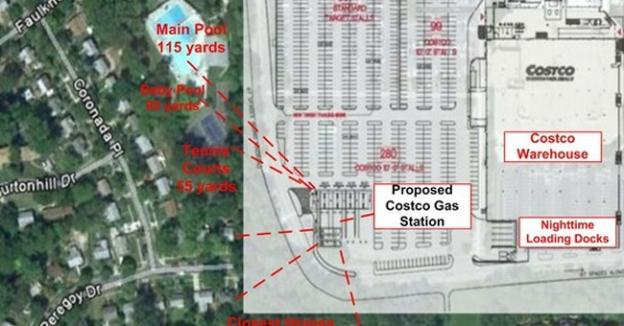 The proposed plan for a new Costco and attached gas station in Wheaton puts pumps just yards from tennis courts and pools.