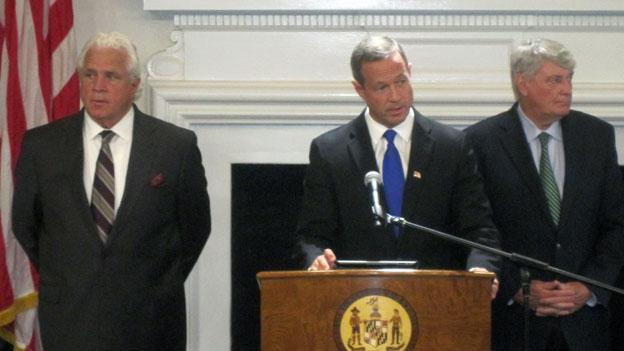Senate President Mike Miller, left, is one of the most vocal supporters of a casino in Prince George's County. Maryland Gov. Martin O'Malley, center, shown here earlier this month, has appointed a gambling work group to examine the idea.