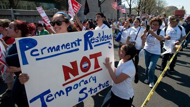 Immigration reform advocates marched on the U.S. Capitol in April.