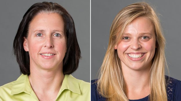 This combination made with photos provided by the University of Richmond shows associate head coach Ginny Doyle, left, and director of basketball operations Natalie Lewis. Doyle and Lewis were two of the three people aboard a hot air balloon that drifted into a power line, burst into flames and crashed on Friday, May 9, 2014, in Virginia. Investigators say their remains were found about a mile apart in dense woods.