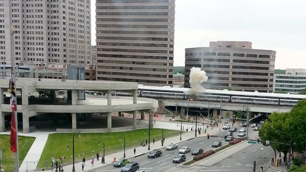 Montgomery County Fire Department responded to the scene of a fire at the Silver Spring Metro station.