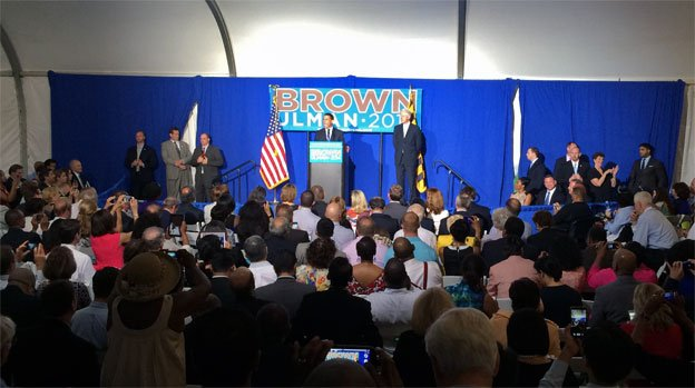 Maryland Lt. Gov. Anthony Brown was joined on-stage by former President Bill Clinton.
