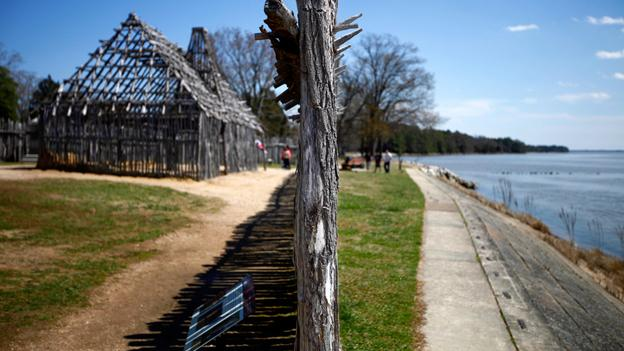 A re-created section of the fort wall in the English colony of Jamestown, Va., sits on top of the original post holes. The fort was thought to have been lost to the James River, but was rediscovered by excavations that began in 1994. Since then, approximately 2 million artifacts have been recovered.