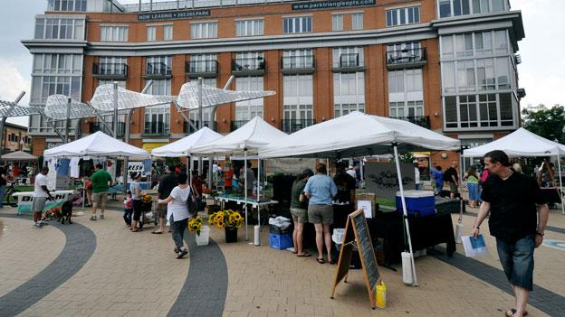 A typical Saturday at the Columbia Heights farmers market, which is one of several markets participating in a new fruits and vegetables prescription program in D.C.