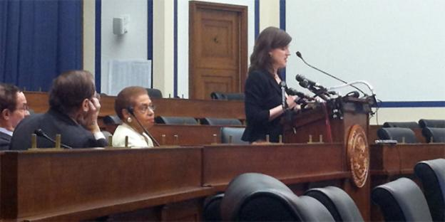 D.C. resident mother Christy Zink, right, spoke at the hearing alongside Del. Eleanor Holmes Norton.