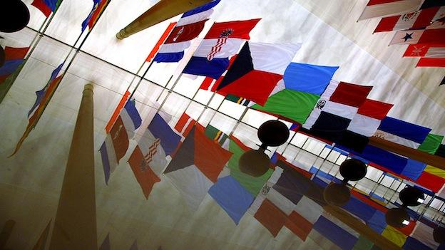 Flags from around the world at the Hall of Nations at the Kennedy Center in Washington, D.C.