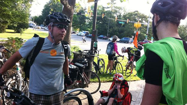 Bike to work day participants gather at a pit stop in Rosslyn.