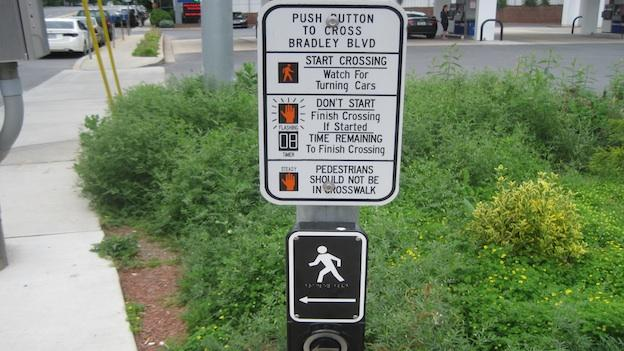 This talking crosswalk guide was installed at Bradley Boulevard in Montgomery County to improve pedestrian safety.