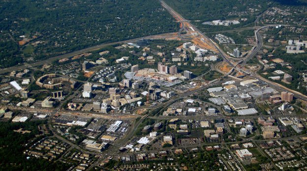 Tysons Corner, shown here in 2010, has undergone a development overhaul in anticipation of the Silver Line.