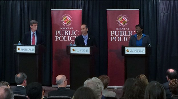 Sen. Brian Frosh, left, Del. Jon Cardin and Del. Aisha Braveboy squared off in a debate Monday night.