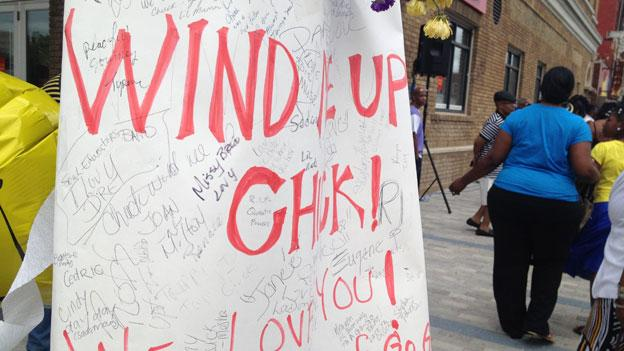 "A sign honors Chuck Brown as devotees gather on ""Chuck Brown Way"" May 20 to mourn the ""godfather of go-go,"" who died May 16."