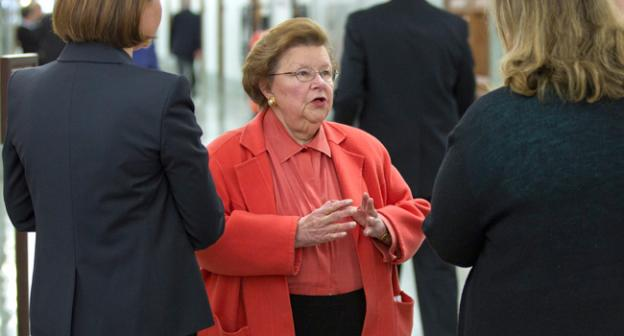 In this March 8, 2012, file photo, Sen. Barbara Mikulski, D-Md., is seen before a Senate Appropriations Committee hearing on Capitol Hill in Washington. She's pushing the Paycheck Fairness Act in the Senate.