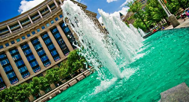 The fountain at the U.S. Navy Memorial, where many will come this weekend to remember and honor the fallen.