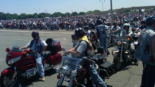 Motorcyclists position themselves at the Pentagon for the annual Rolling Thunder event in Washington, D.C. (File: May 2010)