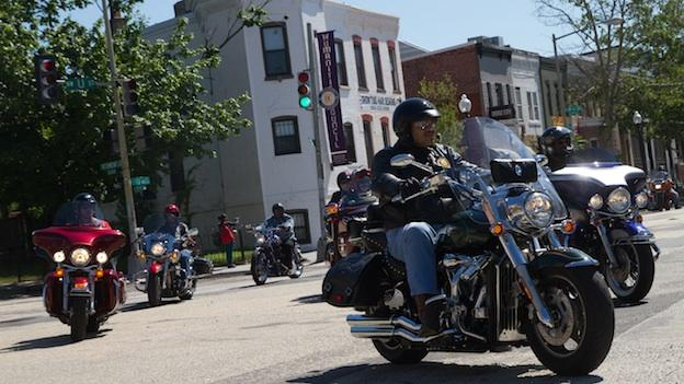 Members of the Buffalo Soldiers Motorcycle Club honor black veterans by riding through U Street northwest, and ending at the African American Civil War Memorial.