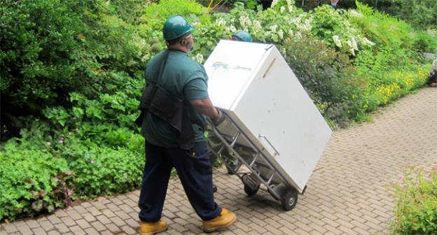 Pepco orkers remove the 40-year-old freezer from Corianne Atwell's house in Bethesda, Md.