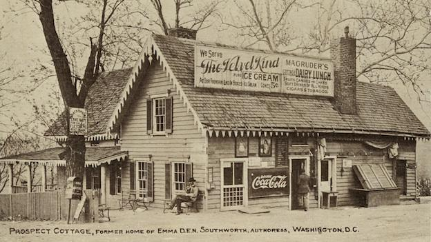 E.D.E.N. Southworth's cottage, just a few years after her death, circa 1910 postcard.