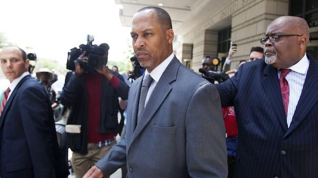 Former Washington, D.C. City Councilman Harry Thomas Jr. leaves federal court in Washington, Thursday, May 3, 2012, after being sentenced to three years and two months in prison for stealing more than $350,000 in government funds.
