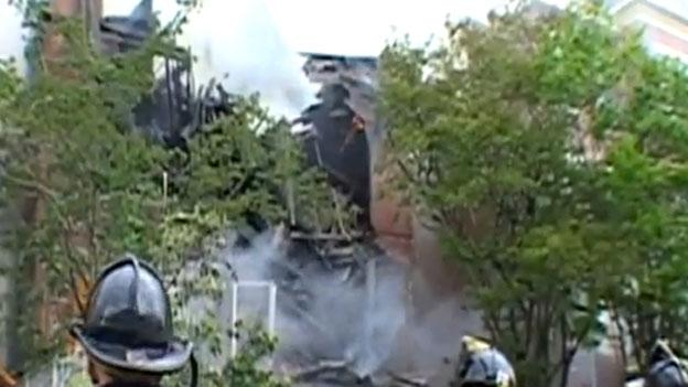 A shot of the fire at the home of Dorothy Brizill and Gary Imhoff as firefighters tried to save the structure in May.