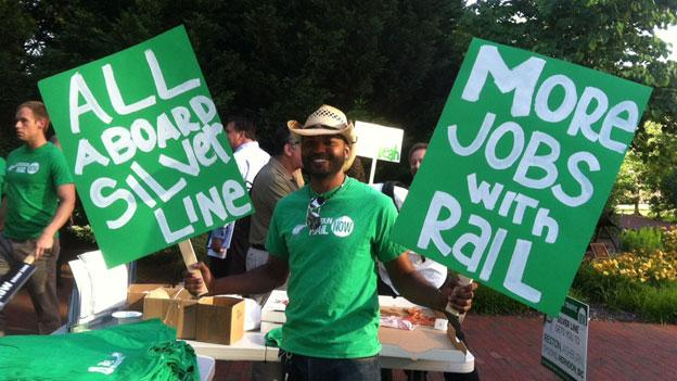 Supporters of the Silver line outside the Loudoun County Board meeting June 4.