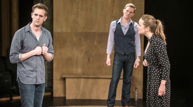 Ben Cole (John), Scott Parkinson (M), andLiesel Allen Yeager (W) inCockat Studio Theatre.