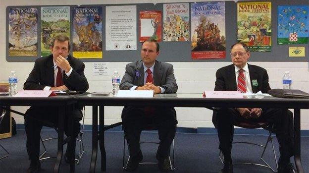 Tom Moore, Ryan Spiegel and Sidney Katz debate at Aspen Hill library on June 4, 2014.