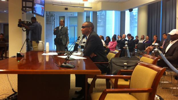 Sulaimon Brown testifies before a D.C. Council committee in June. Brown, who has accused the campaign of now-Mayor Vincent Gray of a quid pro quo scheme, was arrested early this morning.