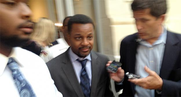 D.C. Council Chair Kwame Brown left the Wilson Building without comment Wednesday, after being charged with fraud.