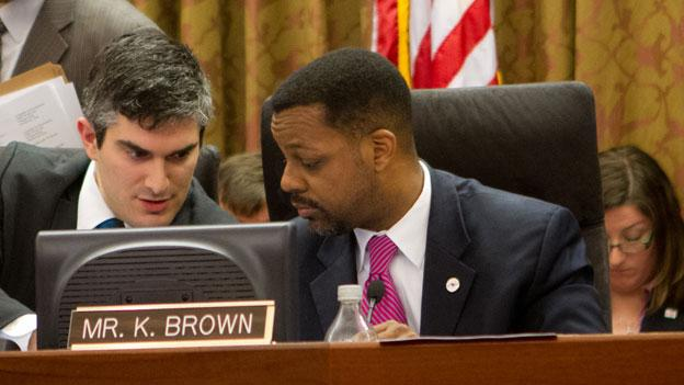 Kwame Brown in his D.C. Council chairman's seat in January.