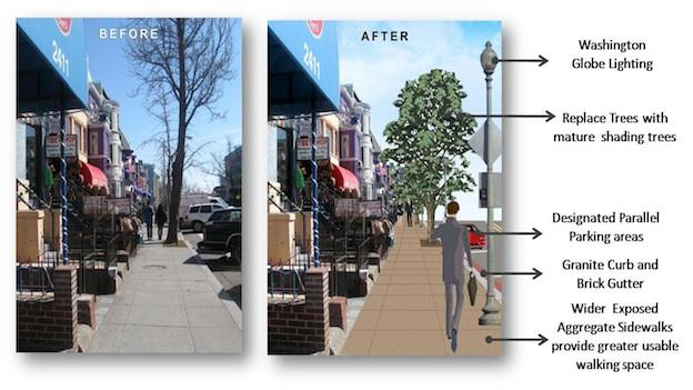 A rendering of the old, and new, 18th Street in Adams Morgan.