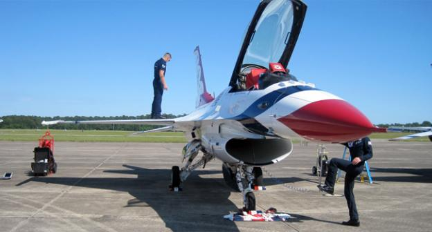 The F-16 fighter jet has been in service since 1974, but it's still a source of awe, even on the ground.