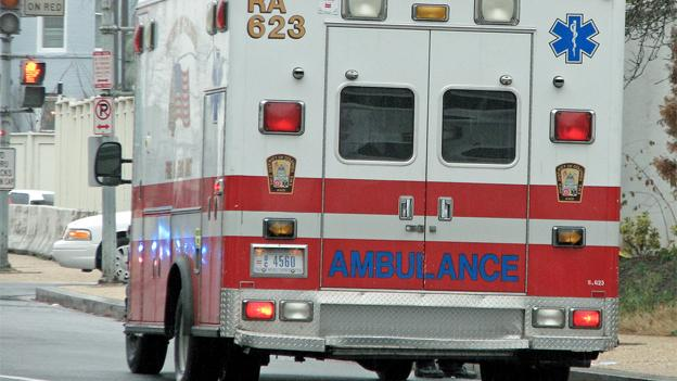 The ambulance did not break down due to a faulty emissions prevention system, as previously thought.