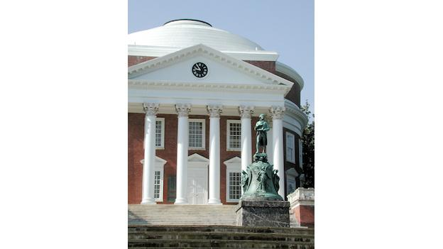 The Rotunda, copied from Rome's Pantheon, is the signature structure of the University of Virginia in Charlottesville.
