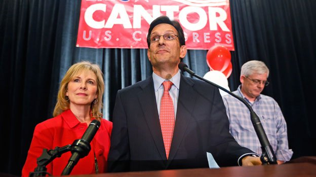 House Majority Leader Eric Cantor, R-Va., delivers his concession speech as his wife, Diana, listens in Richmond, Va., Tuesday, June 10, 2014. Cantor lost in the GOP primary tp tea party candidate Dave Brat.