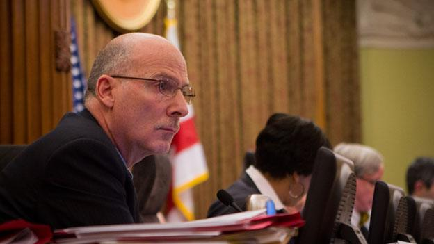 Council member Phil Mendelson, shown here at the dais in January, will take over as council chair until the special election in November.