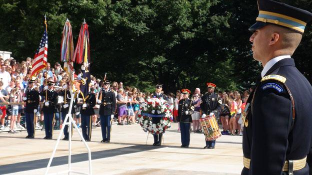 Soldiers commemorate the U.S. Army's 237th anniversary at Arlington National Cemetery.
