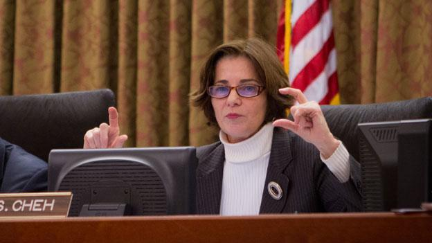D.C. Council member Mary Cheh at the council dais in January.