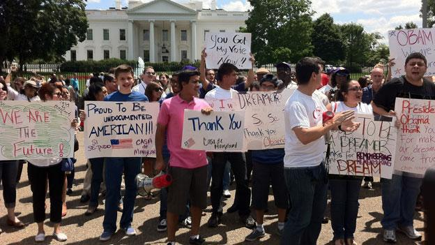 Immigration reform activists protest in front of the White House in June.