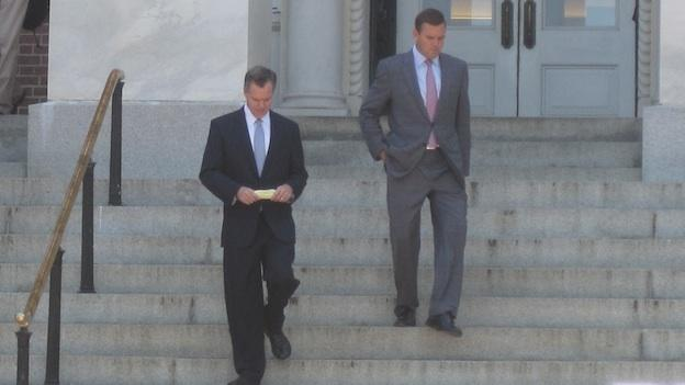 Jim Murren (left) and John Peterson (right) leaving the statehouse in Annapolis after meeting separately with Gov. Martin O'Malley and Senate President Mike Miller. Murren is the chairman and CEO of MGM. Peterson is with The Peterson Companies, the developer for National Harbor.