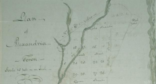 A view of the 1796 map of Alexandria being donated to the city's library today.