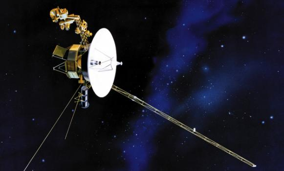An artist's rendering of the Voyager spacecraft.