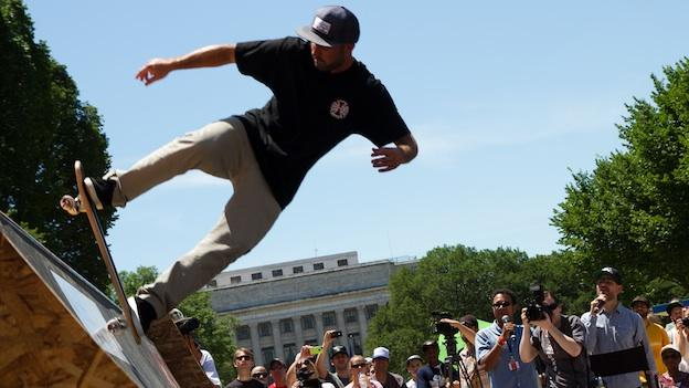 A skateboarding demonstration in front of the National Museum of American History took place as part of the Smithsonian's Innoskate festival.