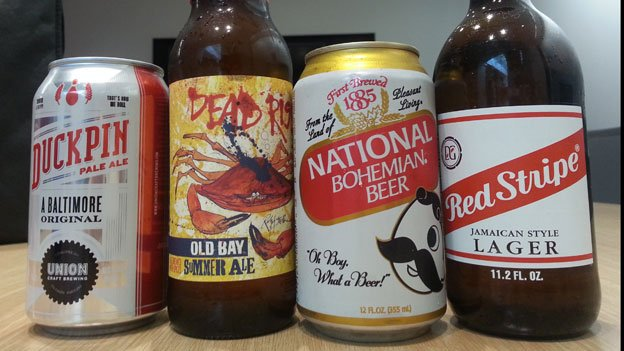 The beers representing four of the candidates for Maryland governor.