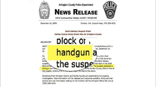 Hailu Brook did not have a handgun, although the Arlington County Police Department press release issued the day of the shooting said he did.