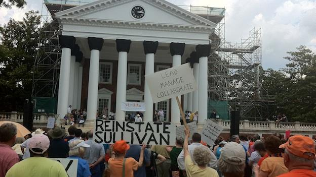 Protestors rallied Sunday afternoon on UVA's campus in support of former president Teresa Sullivan.