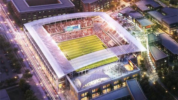 A rendering of the proposed stadium for DC United located at Buzzard Point in Southwest D.C.