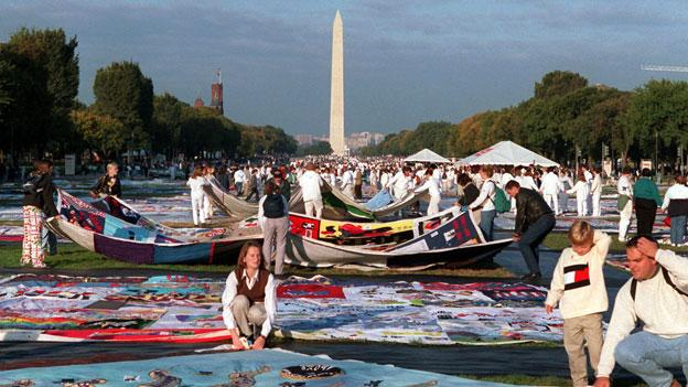 Pieces of the AIDS quilt on the National Mall in 1996.
