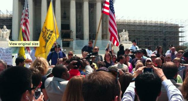 After the Affordable Care Act ruling, tea party detractors staged an impromptu rally.