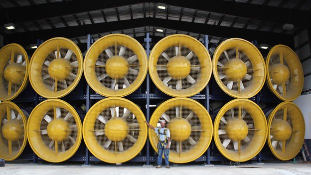 The International Hurricane Research Center in Miami, Florida, features 12, six-foot tall fans—a virtual Wall of  Wind™—capable of simulating Category 5 hurricanes to test the performance of structures and materials.